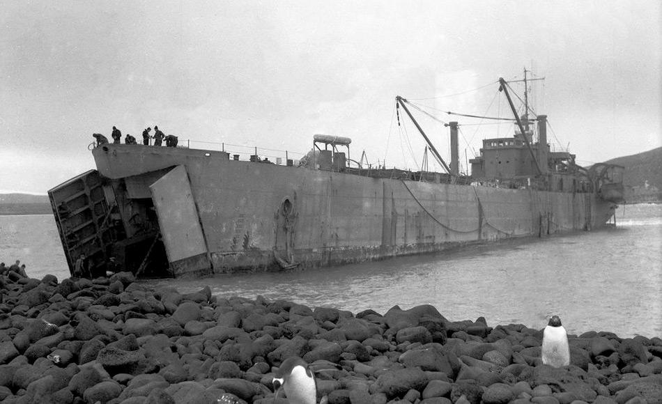 Die erste Landeoperation bei Wharf Point auf der Insel Heard wurde mit dem Landungsboot LST3501 durchgeführt. Die ursprüngliche Absicht, mit Pontoons das Schiff zu entladen, wurde verworfen und das Schiff gestrandet. Bild: Alan Campbell-Drury