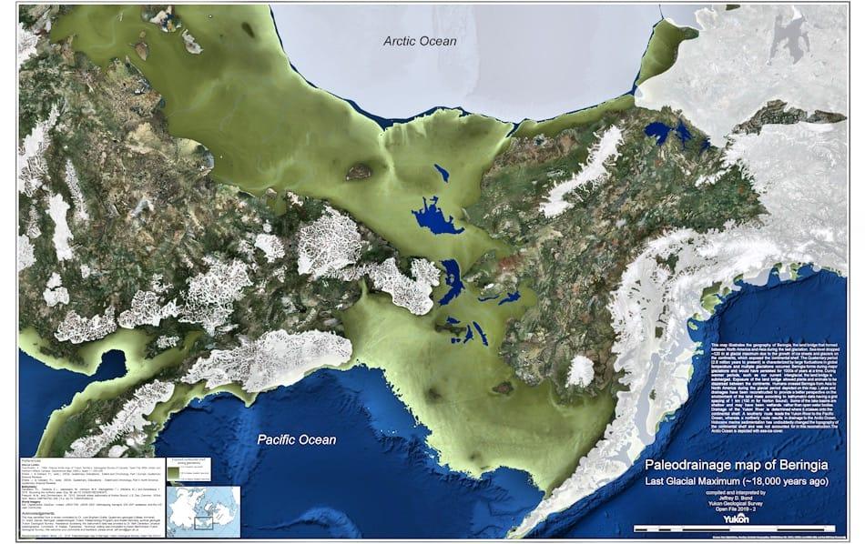 Die von Jeffrey Bond erstellte Karte zeigt eine bis zu 1'000 km breite Landbrücke mit Flüssen und Seen. Viele Bereiche waren wohl zu der Zeit frei von Gletschern, darunter auch Wrangel Island, das damals Teil der Landmasse war. Bild: Jeffrey Bond, Yukon Geological Survey